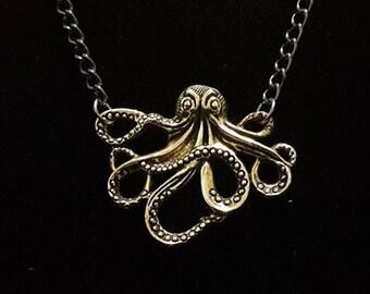 Octopus Necklace on Dark Grey chain