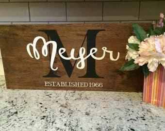 Custom made monogram and last name with established year wood decor