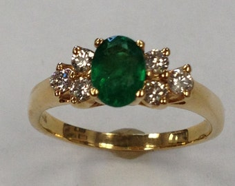 14kt Yellow Gold Timeless Classic Lady's Diamond and Emerald Ring