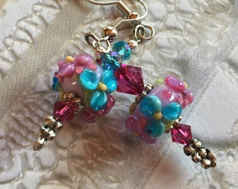 Flower Lampwork Earrings, Lilac, Aqua & Pink Floral Earrings, Lampwork Jewelry, Mothers Day, Gift For Her, SRA Lampwork Jewelry