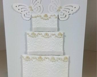 Wedding Card - All White Wedding Card - Wedding Cake Card