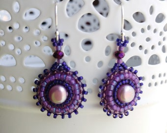Purple Pearl Bead Embroidered Earrings