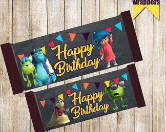 Monsters Inc Chocolate wrappers-Printable Monsters Inc Chocolate wrap-Digital Chocolate wrappers-Monsters birthday-Monsters Hershey's Candy