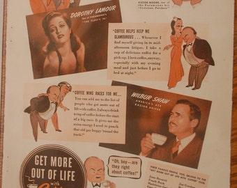 1942 Vintage Coffee Magazine Ad, Wall Decor