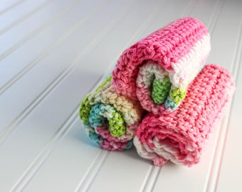 Crochet Baby Washcloths, Oversized, Pink, Green, Blue, White - Set of 3