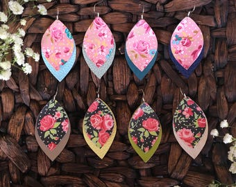 Floral Tier Leather Earrings - Handmade Earrings - Faux Lightweight Earrings - Spring/Summer Floral Earrings