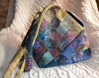 Batik Tote Bag, Blue / Tan Variegated Open Bag