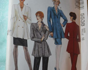 McCalls 5538 Misses Unlined Jacket Skirt and Pants Sewing Pattern - UNCUT - Size 16