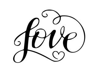 Love heart script outline laptop cup decal SVG Digital Download Cuttable Files Cricut Silhouette