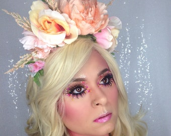 Peach Blossom Flower Crown, for her, Spring Headpiece