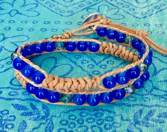 Wrap Bracelet, Blue Wrap Bracelet, Leather Wrap Bracelet, Beaded Wrap Bracelet, Beaded Bracelet, Leather Wrap, YoungBeadsCrafts