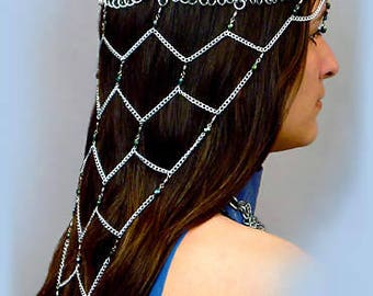 Amira Chainmaille Headdress, Renaissance faire chainmail headpiece, Princess costume head jewelry, Wedding Chain maille, SCA, Halloween