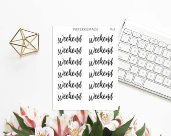 weekend text lettering stickers for bullet journals and planners - T063