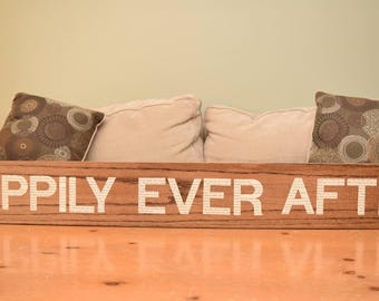 """Wood and Book """"HAPPILY EVER AFTER"""" Sign"""