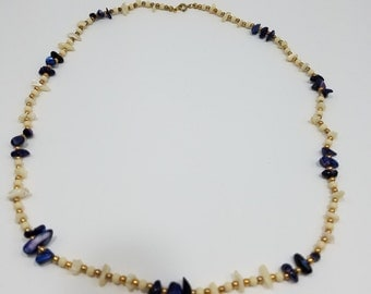 Beautiful and Simple Precious Gemstone and MOP Beaded Necklace