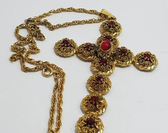 Beautiful Ornate Gold Tone Statement Cross Necklace with Ruby Colored Rhinestones