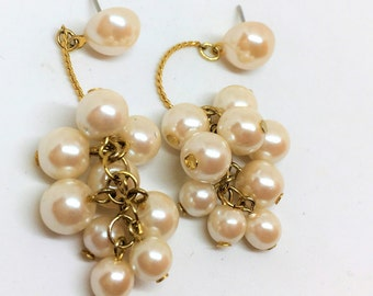 Pearl Cluster Gold Dangle Earrings 2 1/2 inch long VIntage Costume