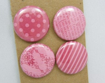 """Lot of 4 badges 1 """"patterns & Textures Rose Red series"""