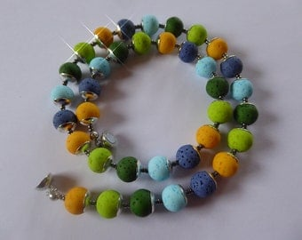 Necklace from Polaris beads in Caribbean colors, chain, jewelry, yellow, blue, green, silver, magnetic clasp