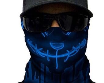 Neon Purge Blue Multi Purpose Face Shield Balaclava Bandana Neck Gaiter Sun Mask Neckerchief