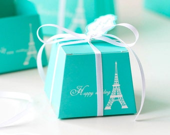 50 Tiffany Blue Eiffel Tower Gift Boxes/DIY Bridal Shower Aqua Gift Box/DIY Paris Favors/Happy Wedding Gift Boxes/DIY French Theme Wedding