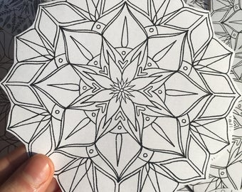 black and white flower mandala stickers