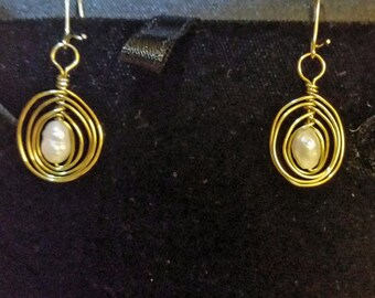 Cute Freshwater Pearl and Gold Wire Earrings