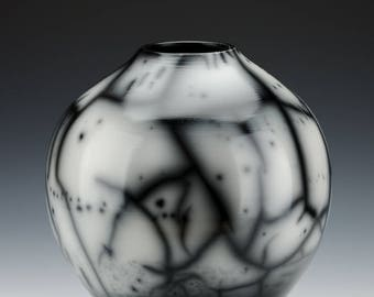 Naked Raku Vase - Wheel Thrown Burnished with Terra Sigilatta Smoke Fired Ceramic Vessel