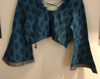 Blue mangalgiri bell sleeved top