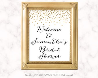 Printable Custom Welcome Party Sign Bridal Shower Sign Gold Glitter Confetti, Bridal Shower Sign Wedding BRS1A SN008