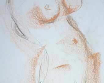Nude female pastel and pencil drawing, erotic body drawing, original nude