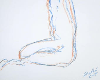 Female nude original nude in the Studio of pastels, with both hands, body drawing, sketch Act, A2, signed
