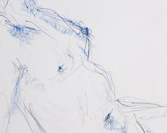 Female nude, original nude drawing of pastels, pencil and blue pen, sexy pose in the Studio, signed, A2