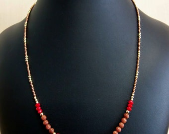 Copper and red handmade necklace