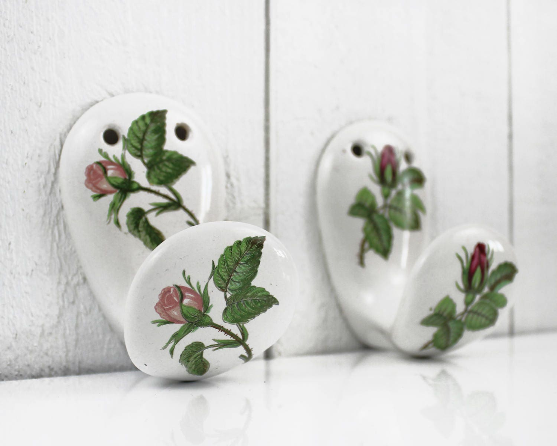 French Porcelain Hooks Shabby Chic Bathroom Decor French