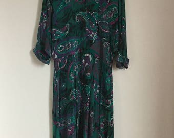 Vintage Turquoise and Purple Paisley Pattern Dress
