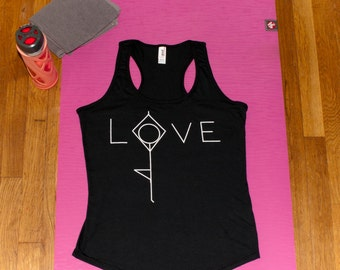 Yoga tank top, yoga tee, workout shirt, workout tee, yoga clothing, gym tee, cute yoga tank, fitness tank, racerback, activewear, love