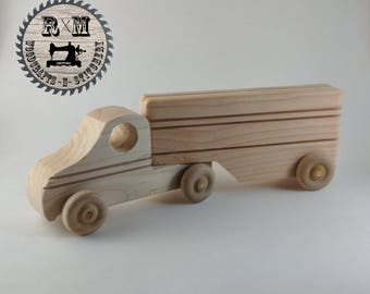 Wood Toy Semi Tractor and Trailer - Ready to Ship