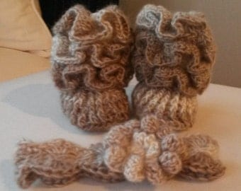 Baby Booties with Matching Headband