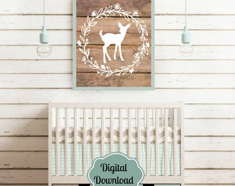 Woodland Nursery Wall Decor Printable, perfect for a shower gift,  little girls room, or cabin  / woodland decor.   Instant download!