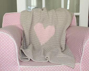 Crochet Baby Blanket, Crochet Heart Blanket, Heart Blanket, Baby Girl Blanket, Baby Boy Blanket