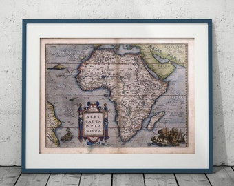 antique Africa map Digital print Old Africa poster Vintage home decor Keepsake gift Gift for men Travel gift Illustrated map Wall art print