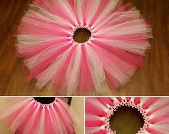Hot Pink & white double layered tutu (Sizes Newborn - 5T) **FREE SHIPPING**