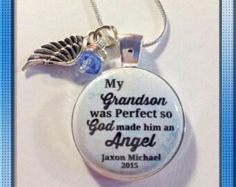 MEMORIAL CHARM, LOSS of Grandson, in memory, loss of baby, grandma to an angel, Memorial Jewelry custom with name