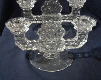Vintage Fostoria Glass American Double Candle Holders