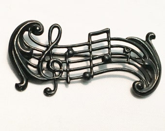 Vintage Whimsical  Treble Clef and Music Note Sterling Silver Brooch