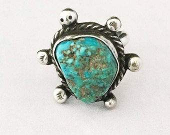 Vintage Handmade Navajo Turquoise and Sterling Silver Turtle Ring Huge