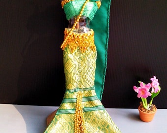 "Dolls clothes Green Thai National Traditional Handmade Dress up for Barbie, Dolls 12"" Costumes"