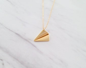 Tiny Gold Paper Airplane Necklace