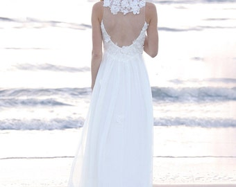 Unique wedding dress with high neckline, silk chiffon and lace. Romantic wedding dress with illusion neckline and classy open back